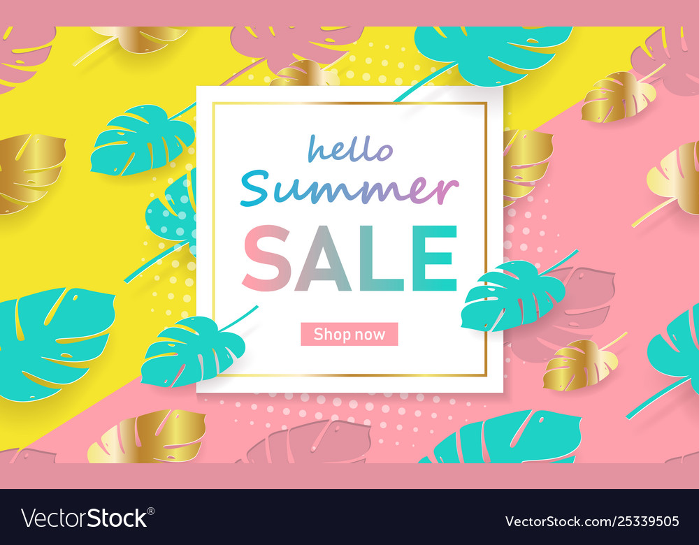 Hot summer sale template banner trendy summer