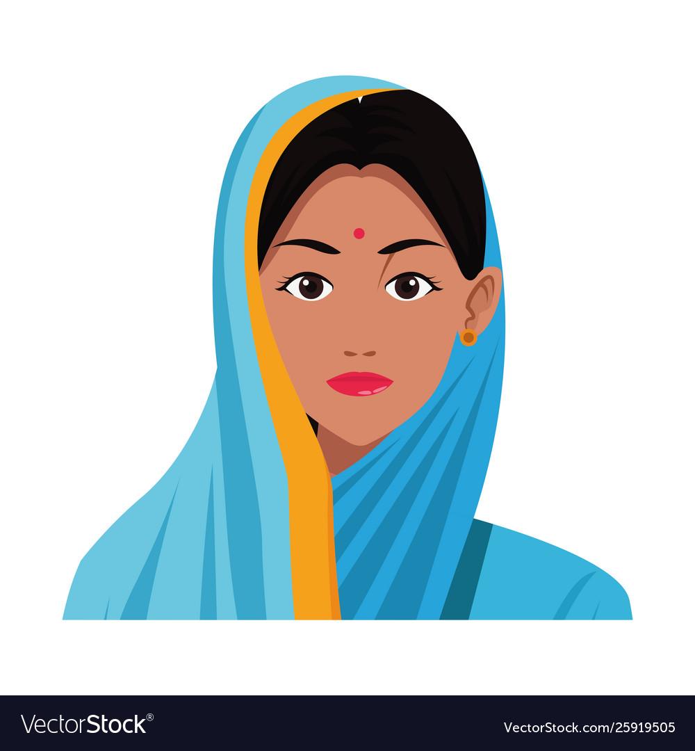 Indian Woman Face Avatar Cartoon Royalty Free Vector Image