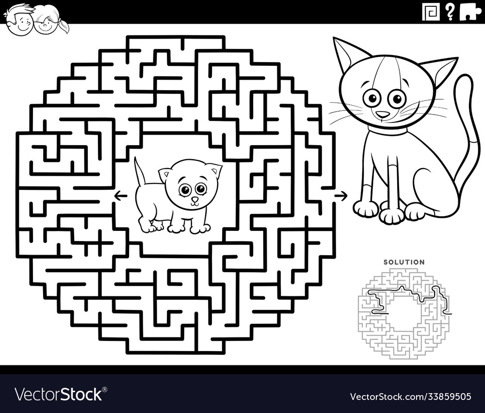 Maze game with kittens coloring book page