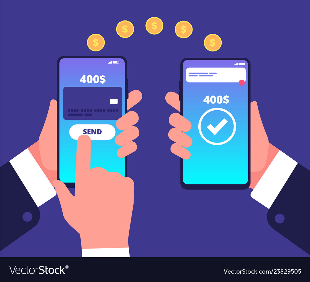 Online payment concept mobile transfers wireless
