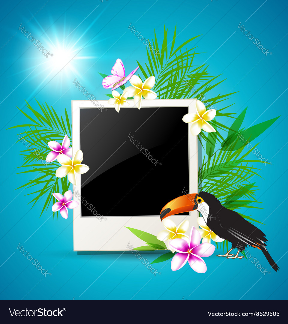 Photo tropical flowers and toucan