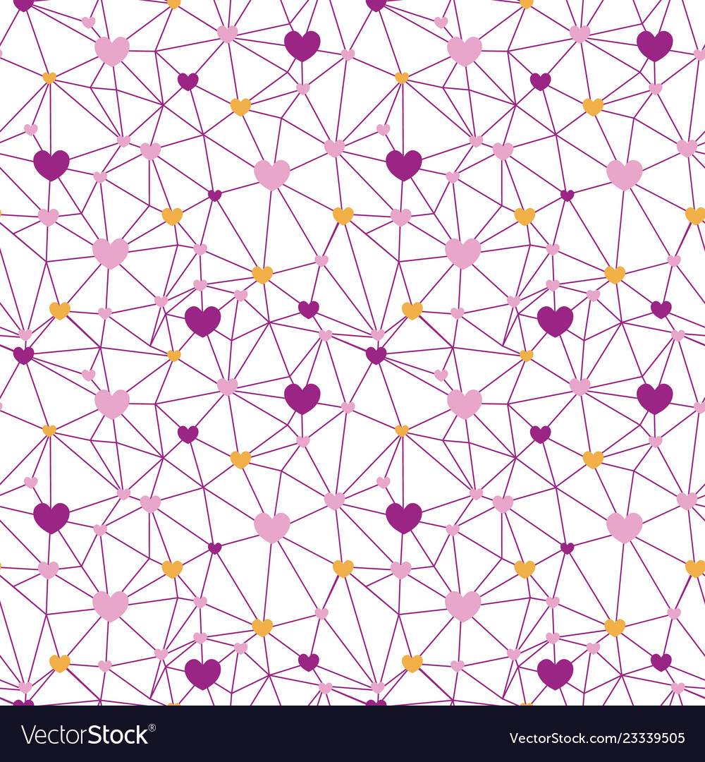 Pink web of hearts seamless repeat pattern