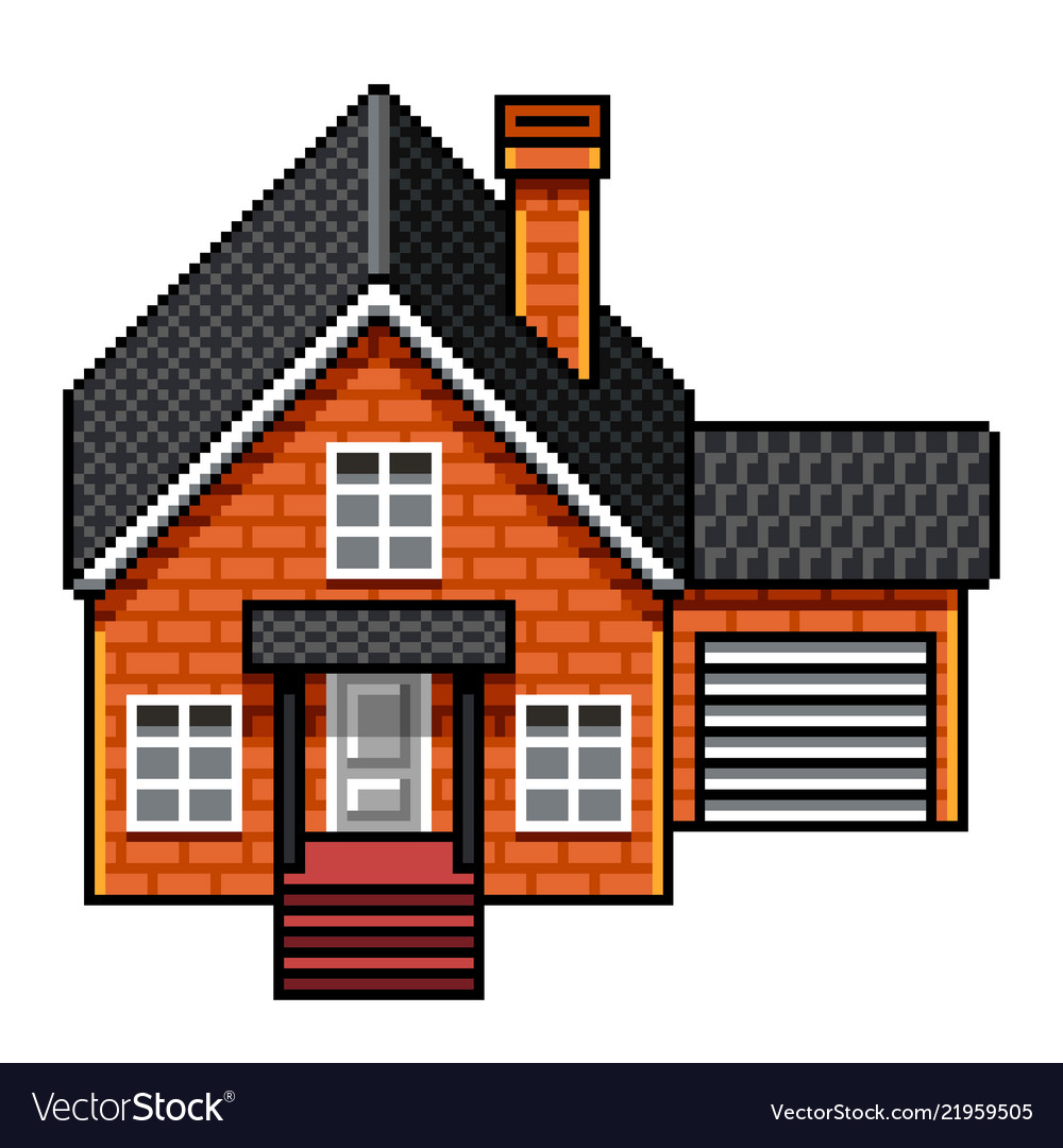 Pixel art modern brick house isolated