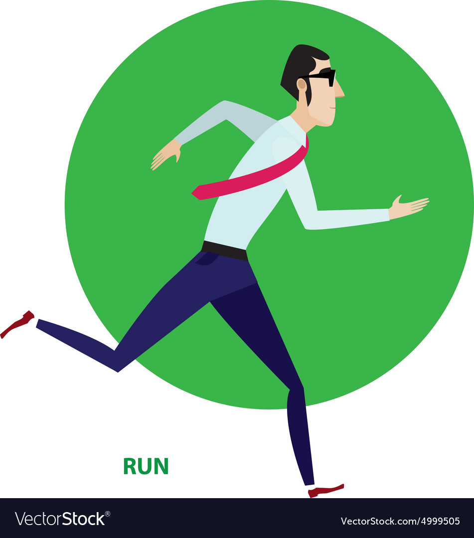 Running businessman in suit vector image