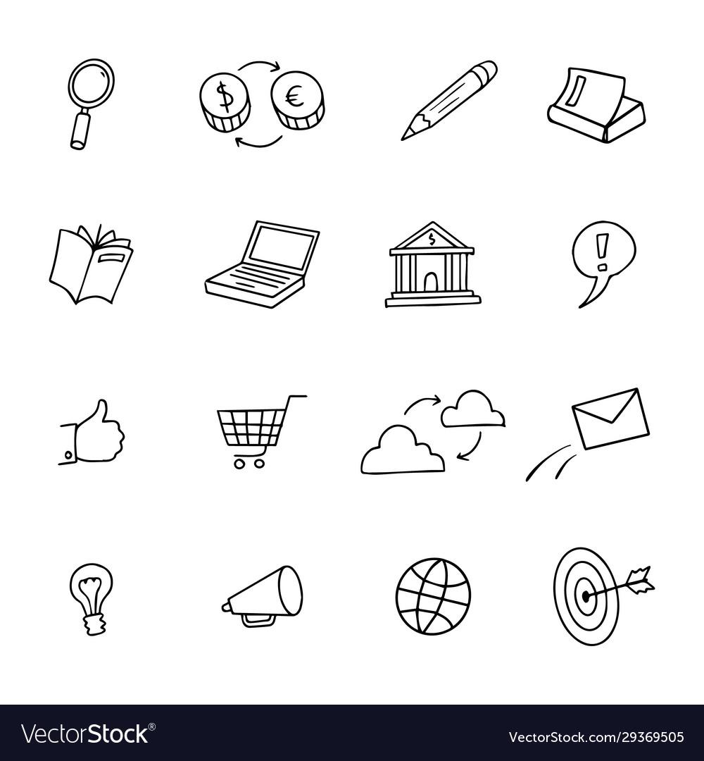 Sketchy doodle web network shop computer icon set