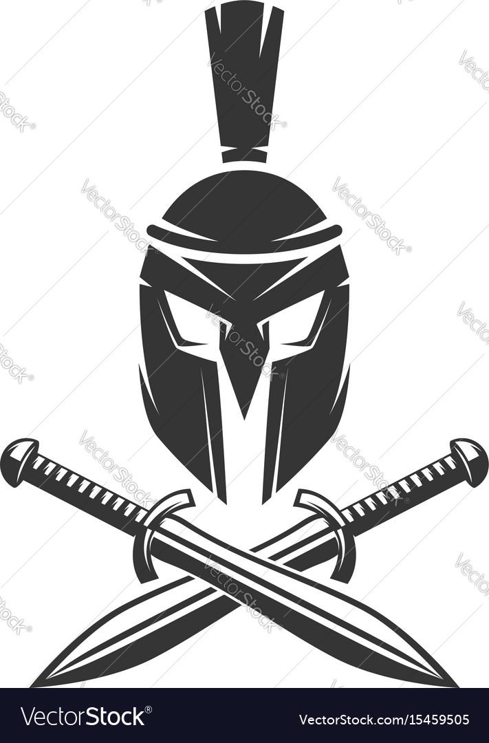 Spartan helmet with crossed swords vector image