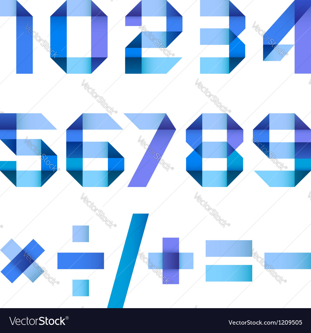 Spectral letters folded of paper blue ribbon vector image