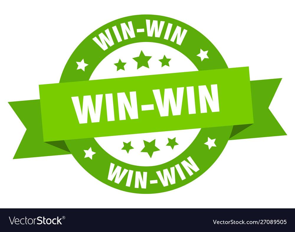 Win-win ribbon win-win round green sign win-win