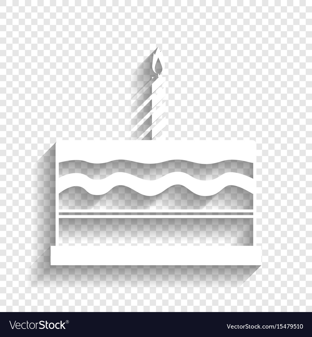 Birthday Cake Sign White Icon With Soft Royalty Free Vector
