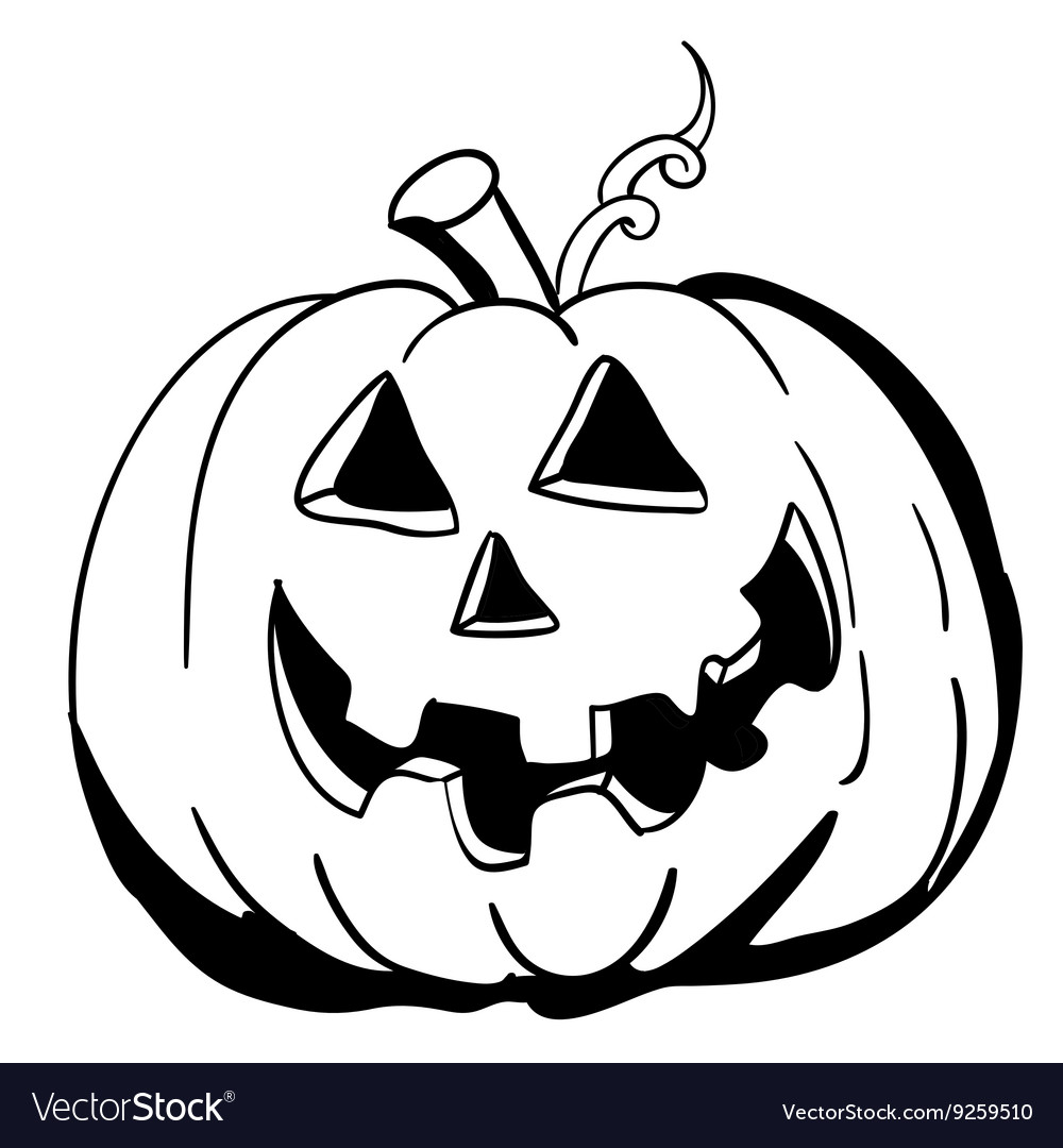 black and white halloween pumpkin royalty free vector image rh vectorstock com Pumpkin Vine Vector Pumpkin Vine Vector