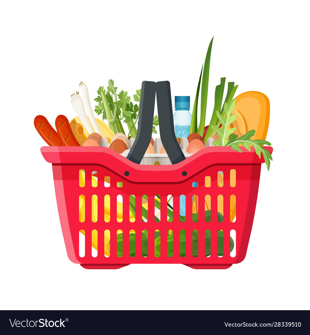 Full shopping basket market food and products