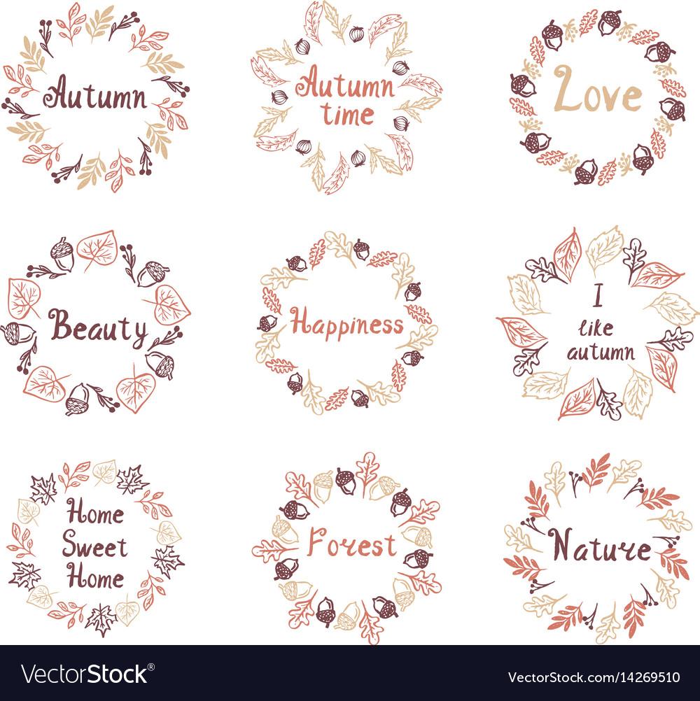 Hand drawn set of autumn mandalas with