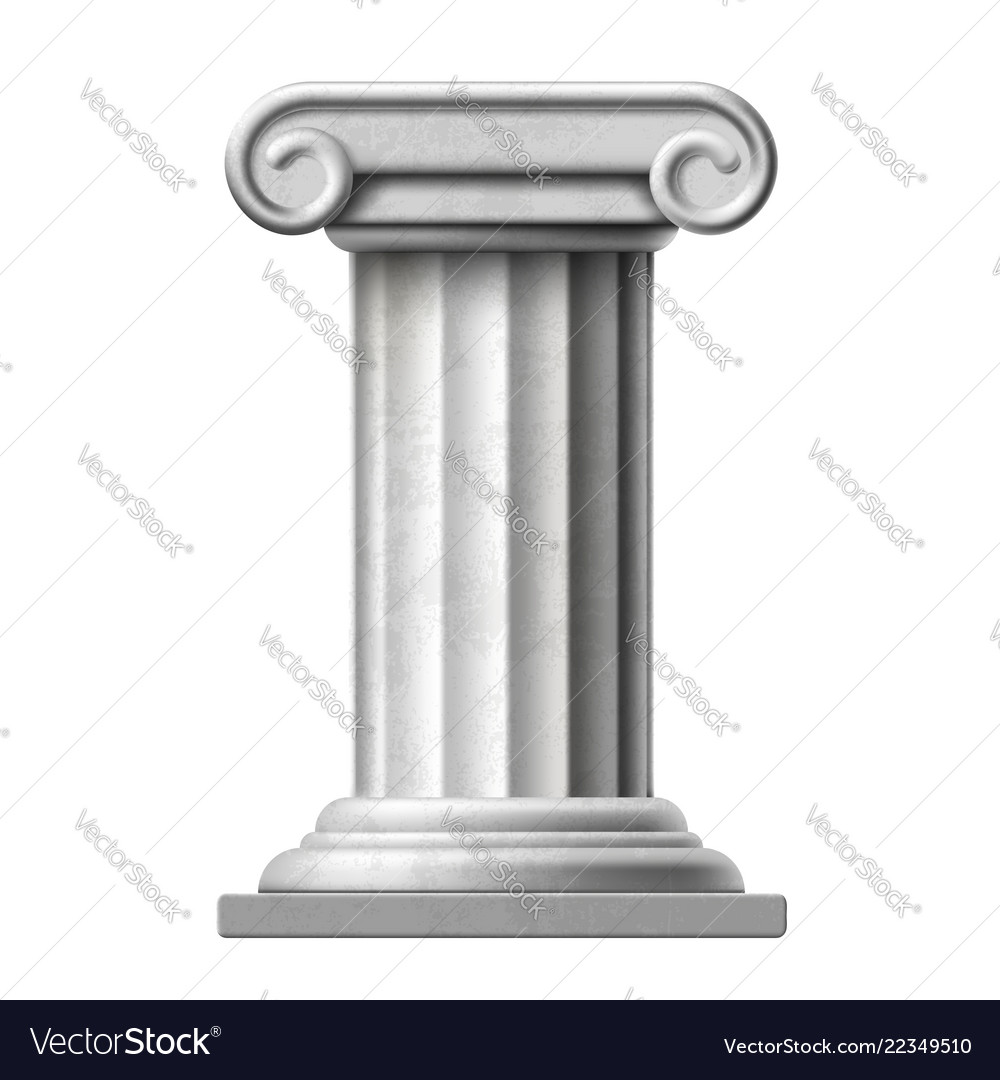 Icon antique marble column isolated on white