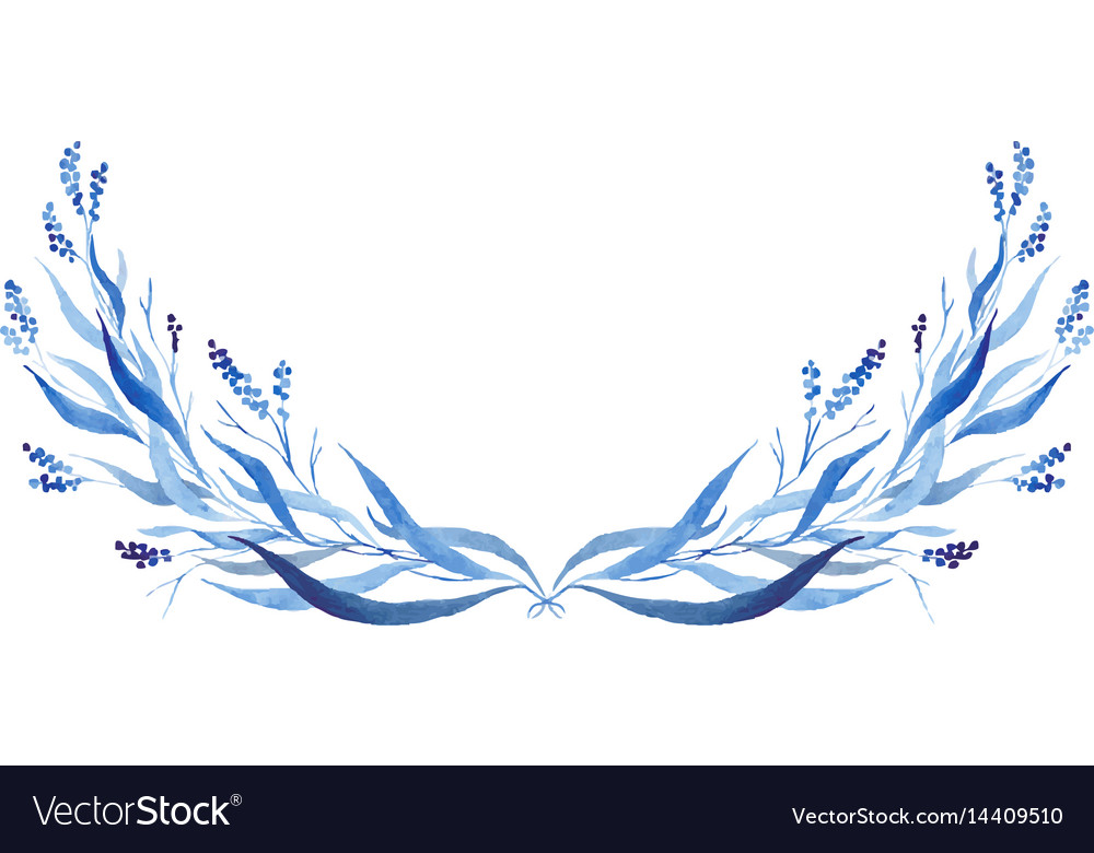 Indigo blue hand drawn semicircle vector image