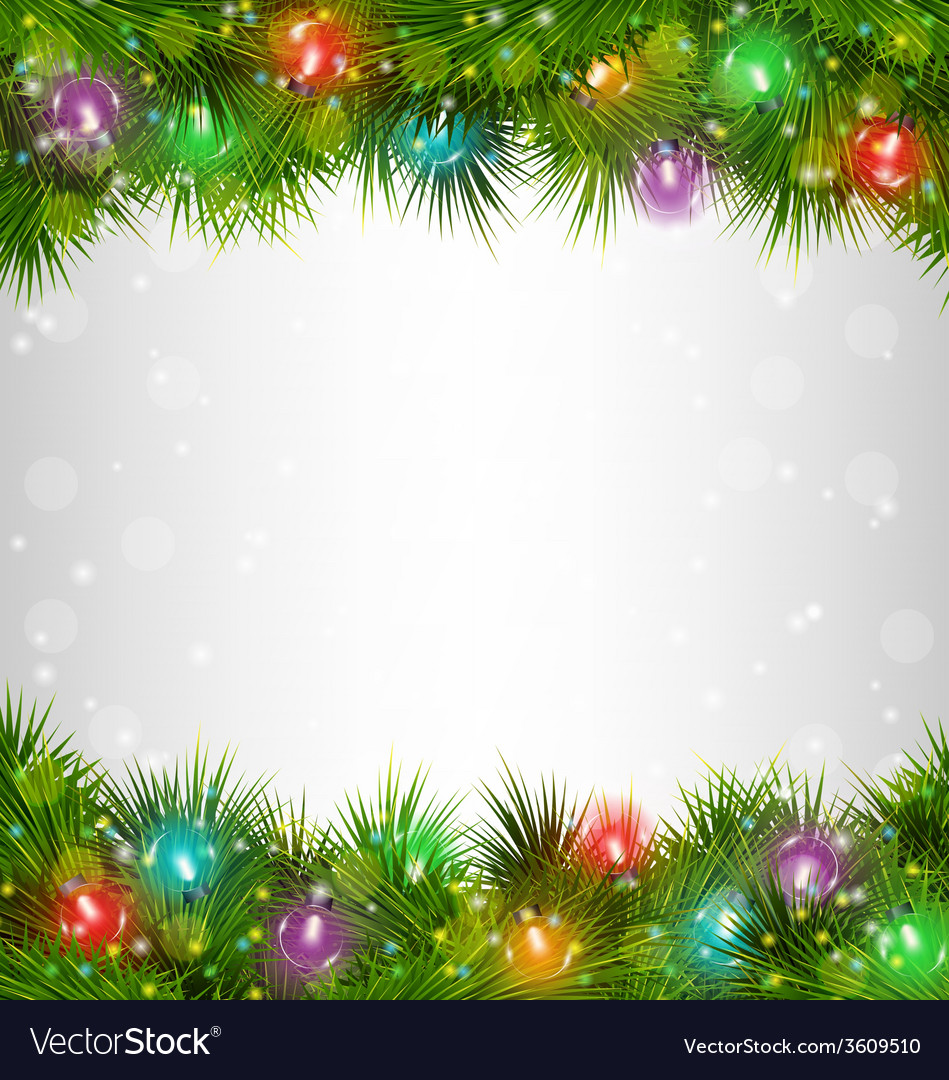 multicolored christmas lights on pine branches on vector image