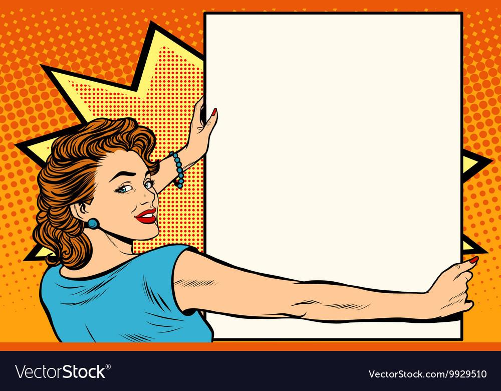 Pop art woman holding a poster