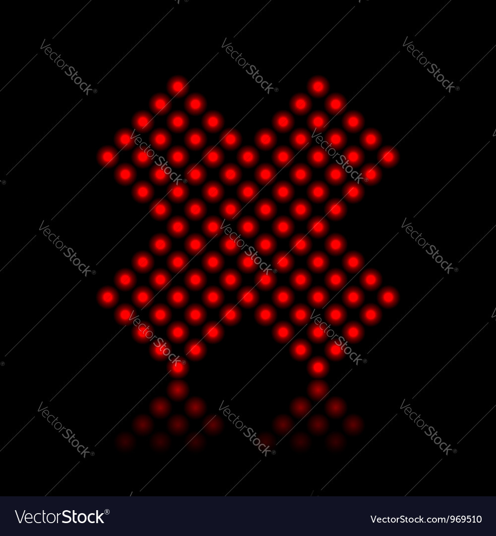Red neon cancel cross on black vector image