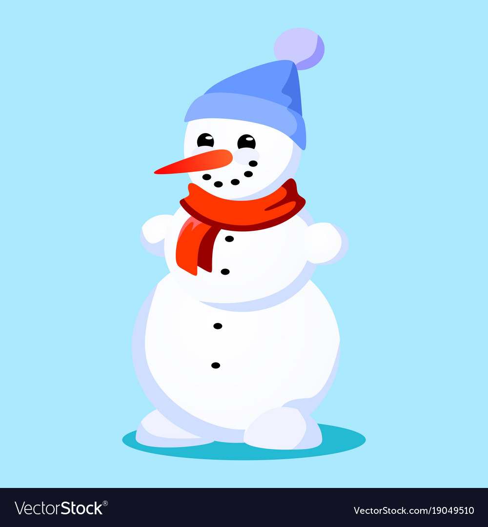 1b6e2ad081c4d Snowman in blue hat red scarf tied around neck Vector Image