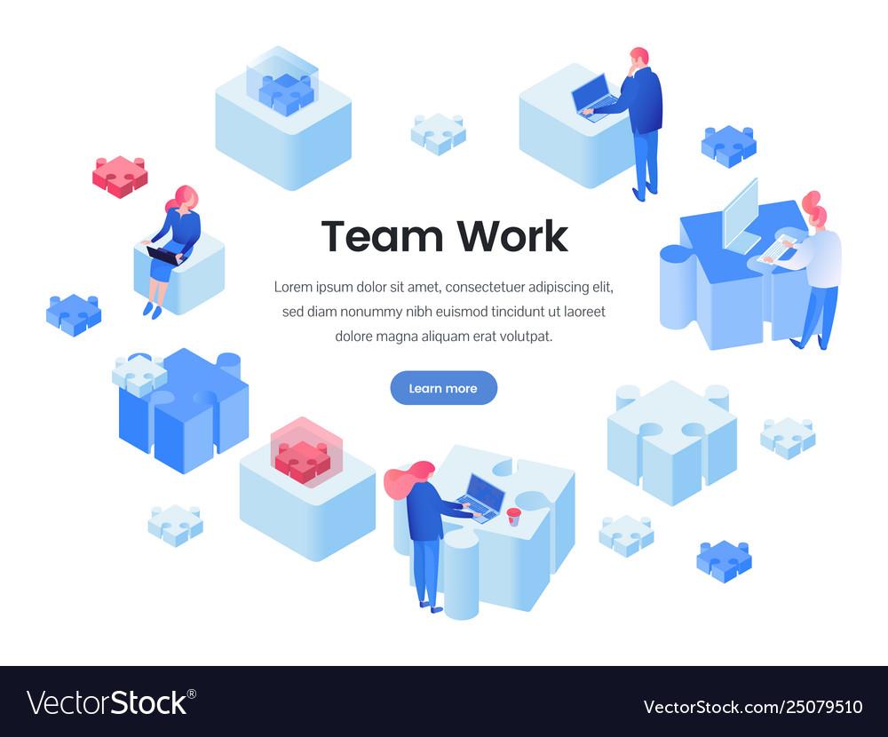 Teamwork team building isometric landing page