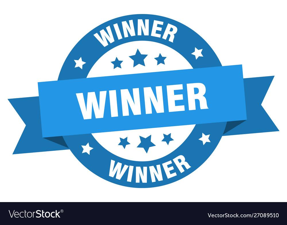 Winner ribbon winner round blue sign winner