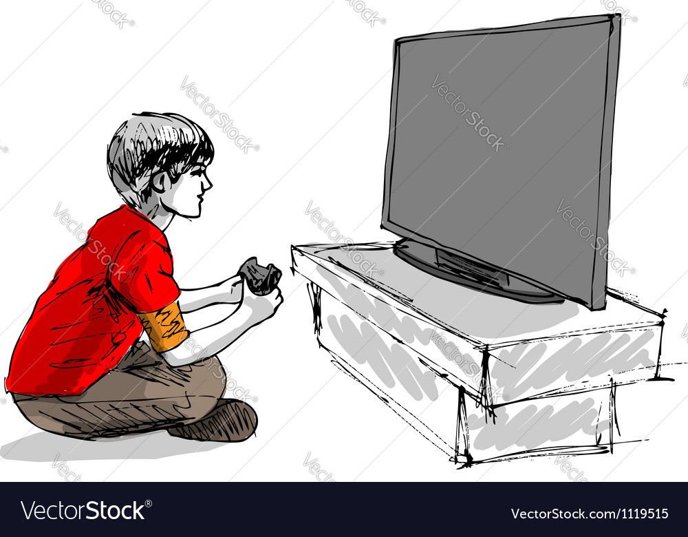 Boy playing computer game vector image