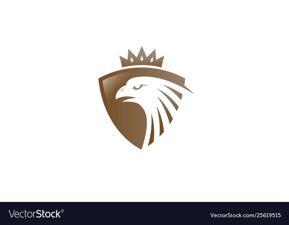 Creative golden eagle shield crown logo design