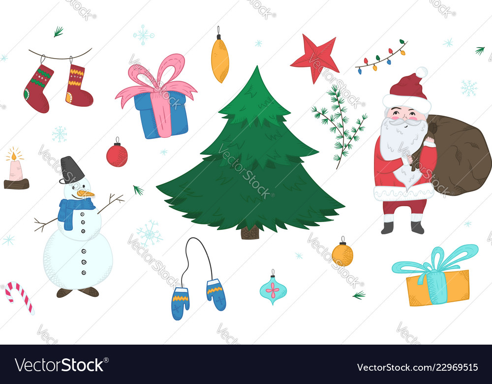 Cute doodle christmas elements set