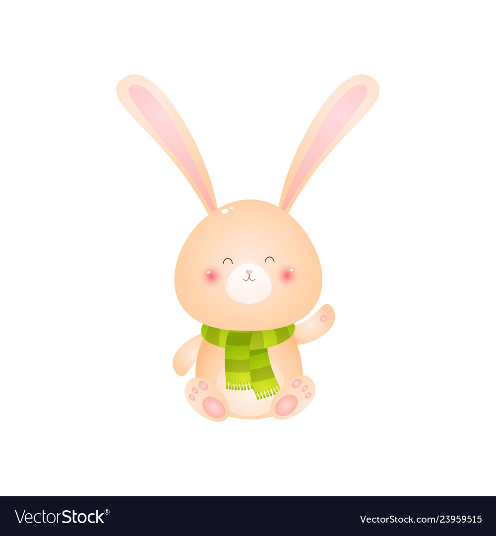 Cute smiling rabbit sitting in green scarf on his