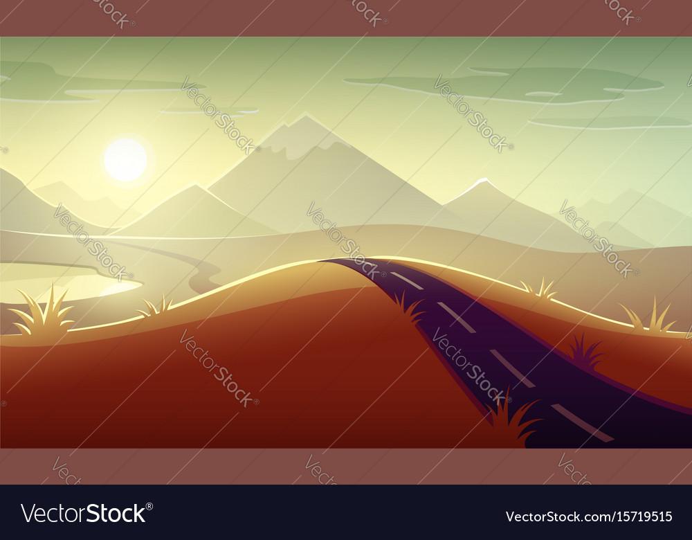 Evening landscape sunshine vector image on VectorStock