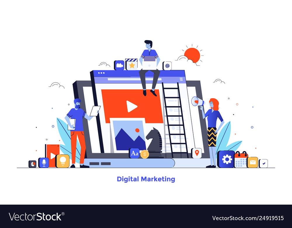 Flat color modern design - digital marketing