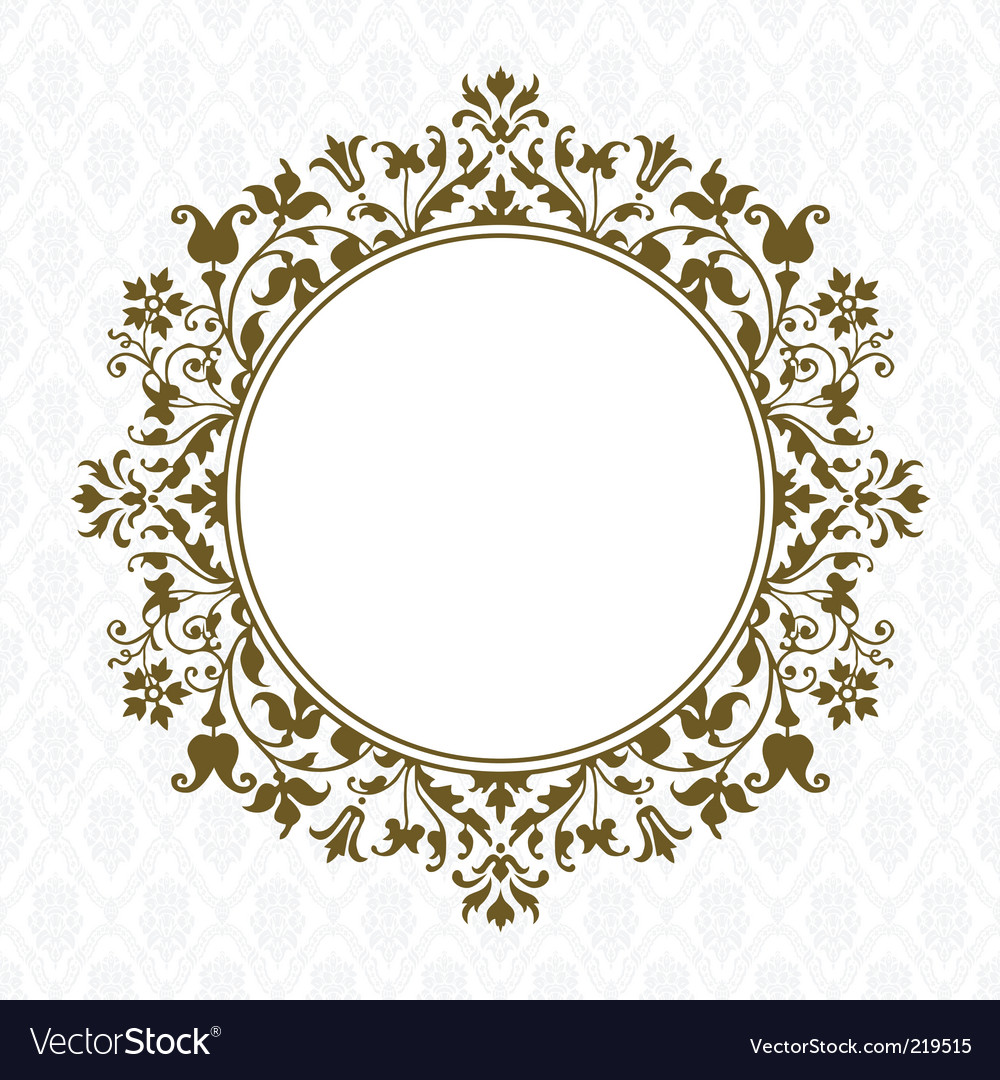 Gold round floral frame Royalty Free Vector Image