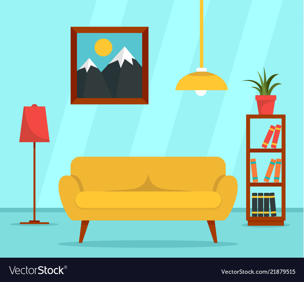 Living Room Background Animated: Living Room Concept Background Flat Style Vector Image