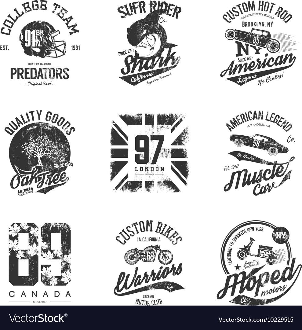 Old grunge effect tee print design set