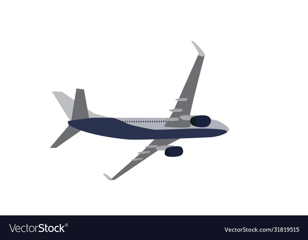 Passenger plane flying isolated on white