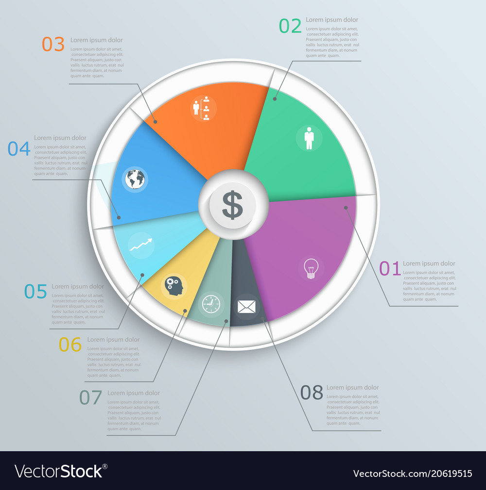 Pie chart with icons infographics