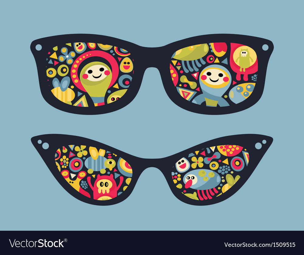 Retro sunglasses with funny party reflection