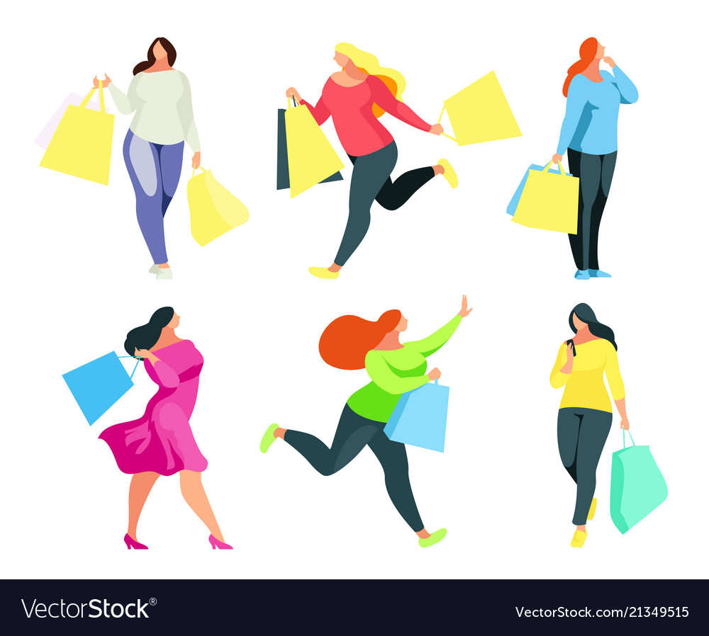 Set of a buyers with shopping bags in hand