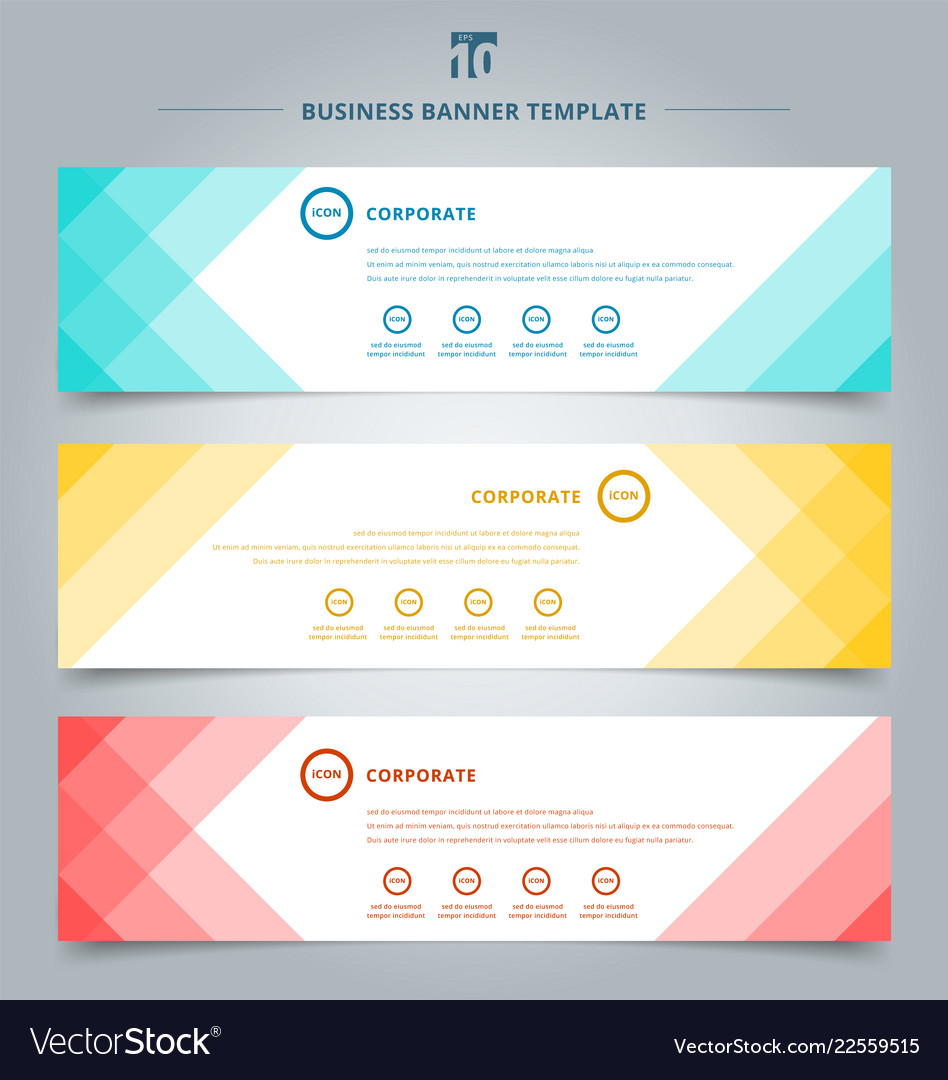 Set of banner web templates geometric header