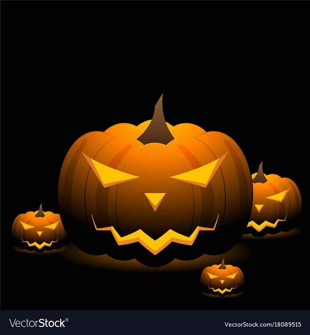 Spooky Halloween Pumpkins On Black Background Vector Image