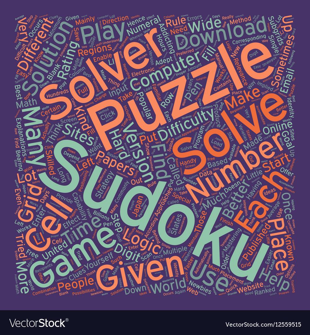 sudoku solvers text background wordcloud concept vector image