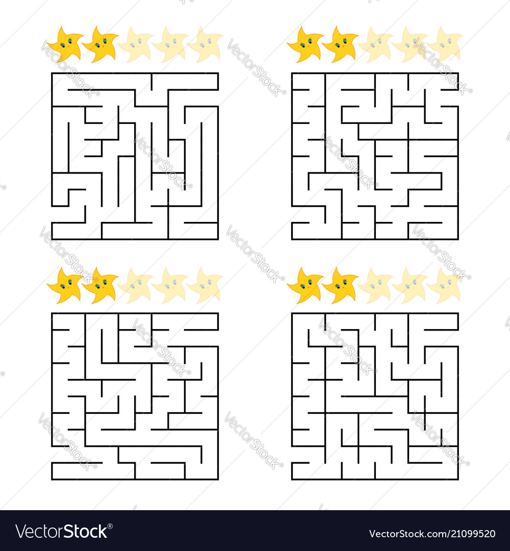 Abstract simple square isolated labyrinth four
