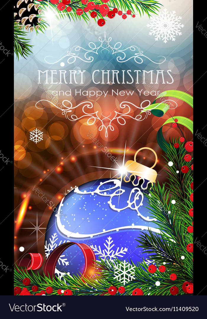 Blue Christmas bauble with sparkles and fir vector image