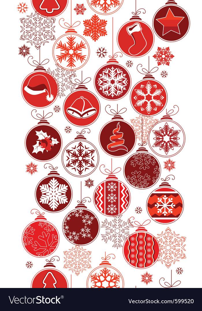 Christmas Vertical Seamless Border With Balls Vector Image