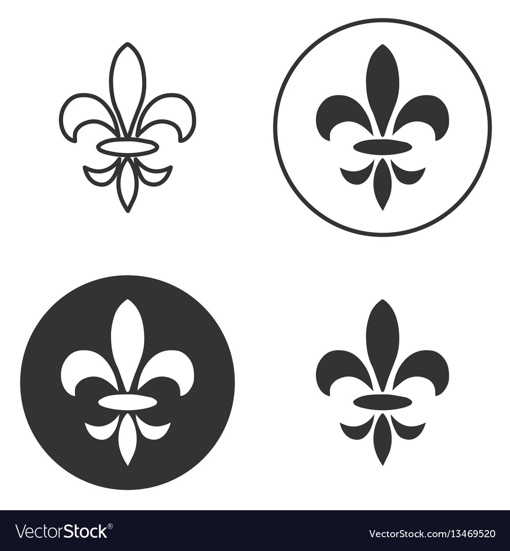 Collection of fleur de lis symbols black