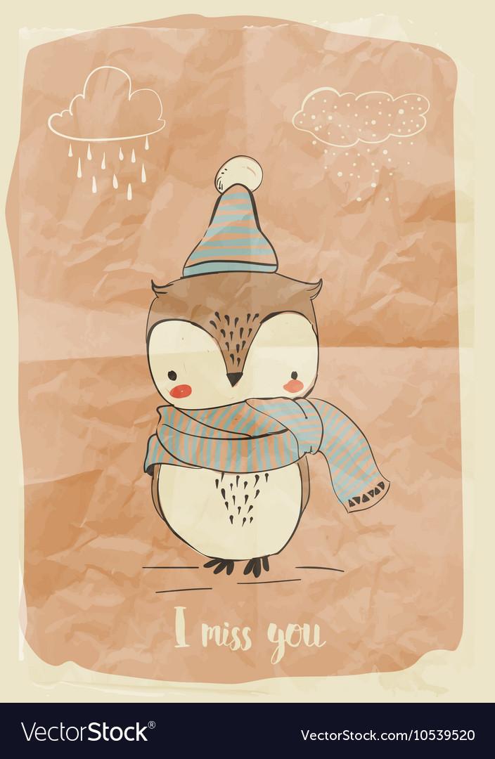 Cute doodle owl vector image