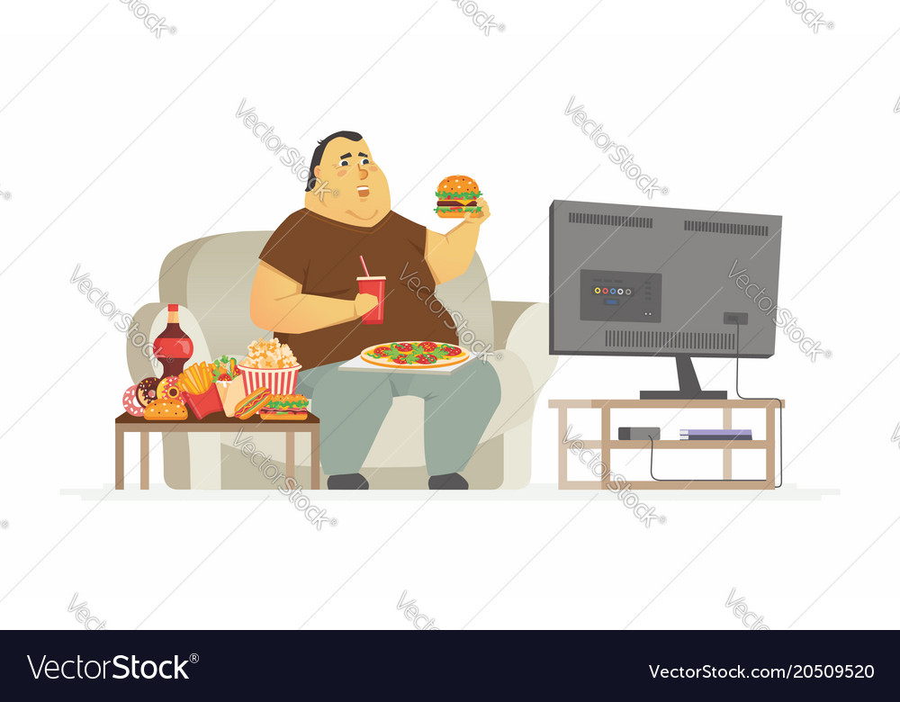 fat man watching tv cartoon people character vector image rh vectorstock com Cartoon Fat Food Fat Albert Cartoon