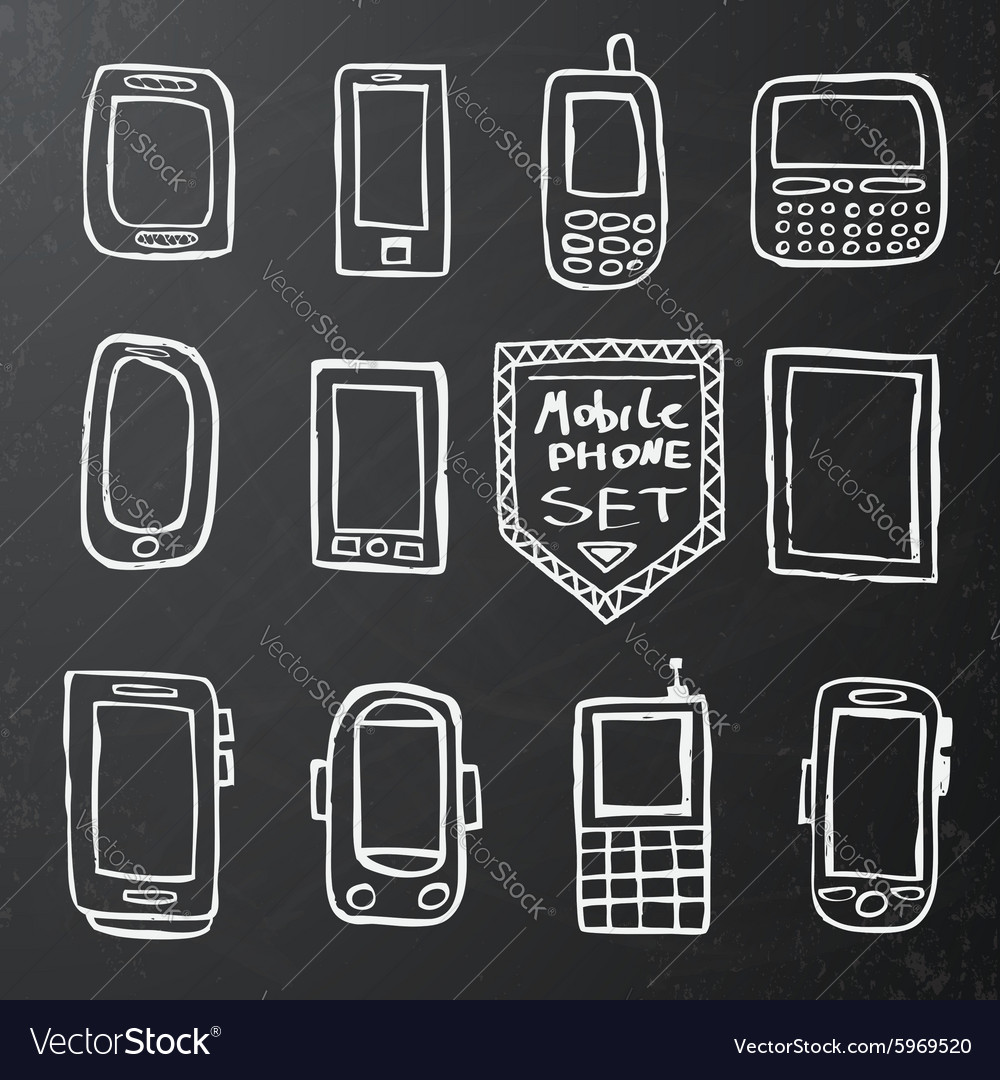 Hand drawn set of isolated mobile gadgets