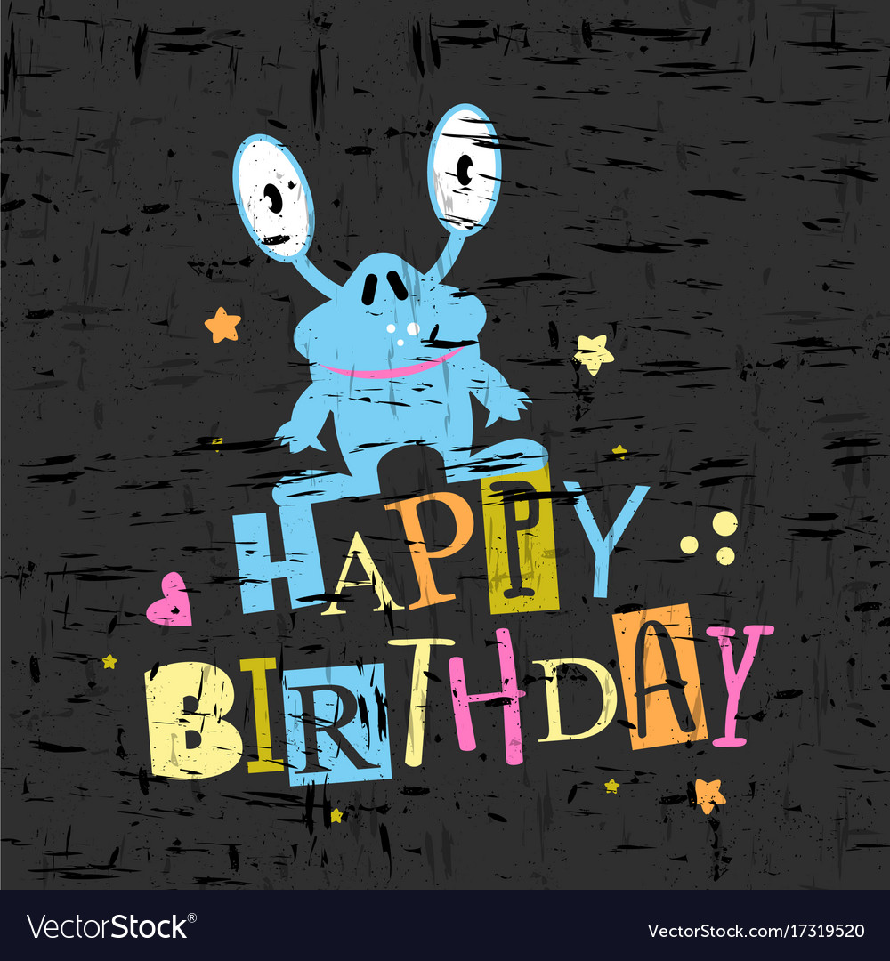 Happy birthday gift card with cute monster