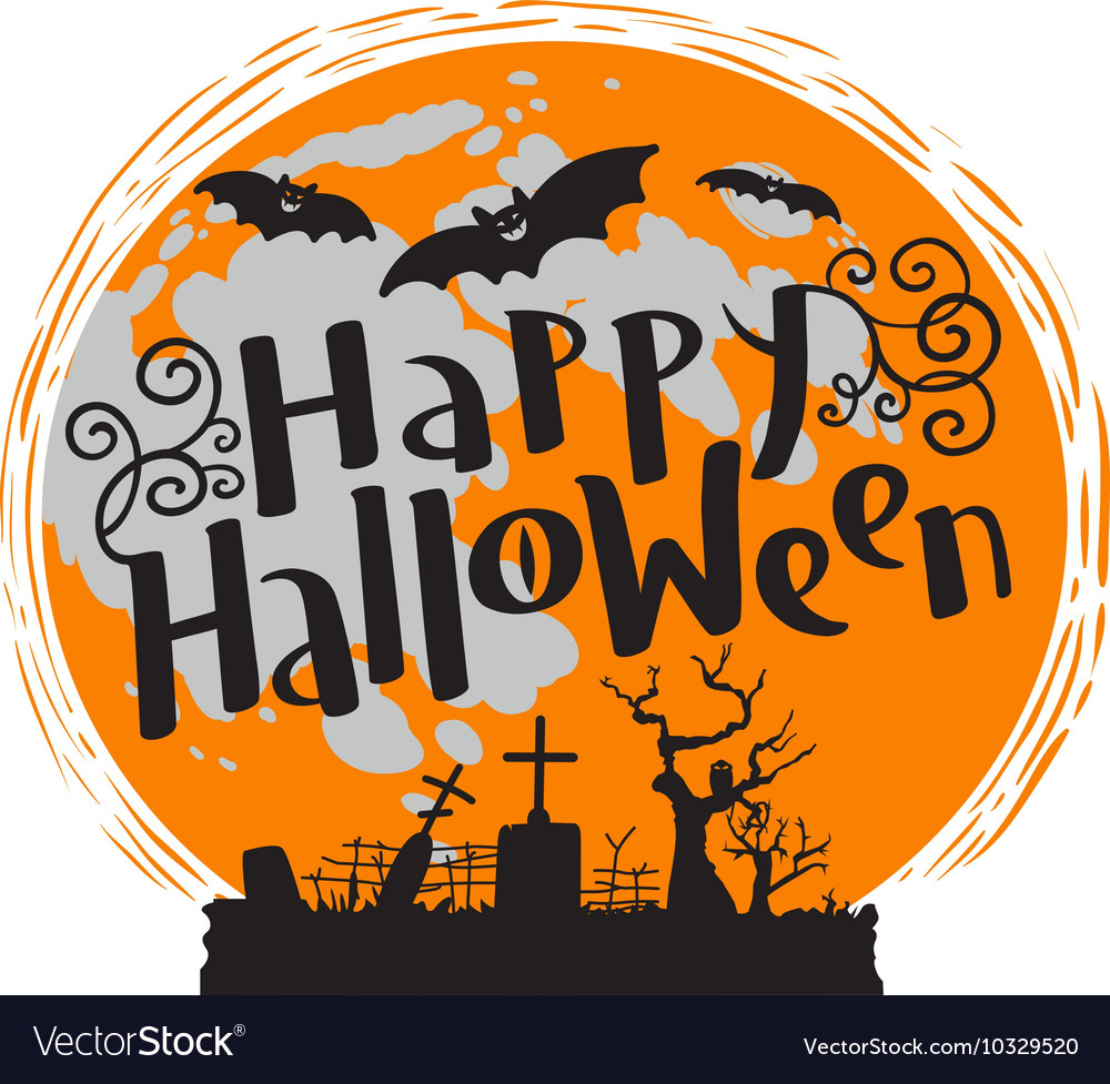 Happy Halloween lettering with moon and bats