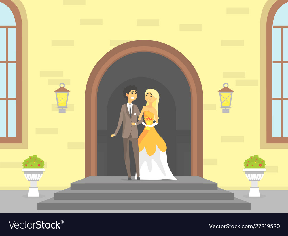 Happy just married couple romantic bride and